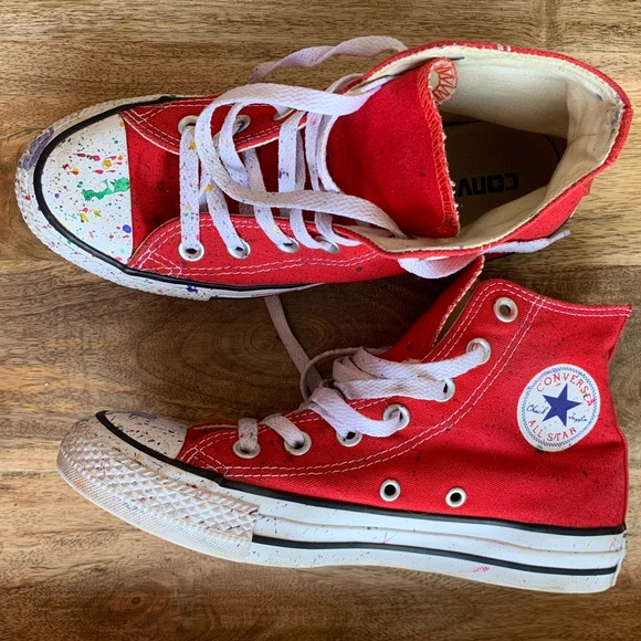 2040f4eafe3dcb Converse Other - CONVERSE HIGH TOP CHUCK TAYLOR PAINT SPLATTER RED